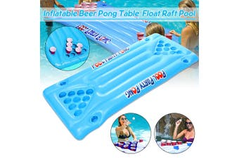 Inflatable Beer Pong Ball Table 24 Cups Holder Float Raft Pool Game Lounge For Home Pool Lake Seaside Outdoor(blue,Inflatable Table)