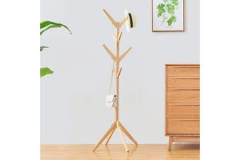 Wooden Coat Stand Rack Clothes Hanger Hat Tree Vintage Jacket Bag Umbrella Holder