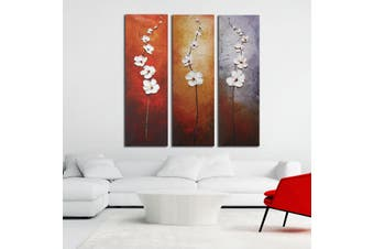 3Pcs Colorful Flower Canvas Abstract Painting Print Art Wall Home Decor Unframed(Unframed painting)