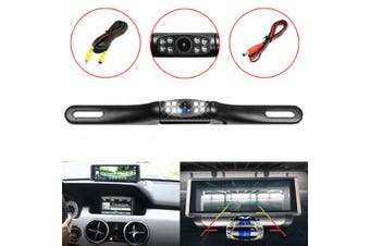 170 ° 8 LED License Plate Mount Rear View Car Backup Camera System (black,Product 1(Camera))