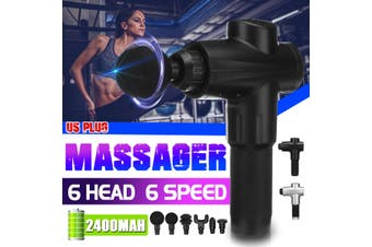 6 Speeds Massage Tool Deep Percussion Massager Muscle Vibrating Relaxing + 6 Head(grey,US Plug)