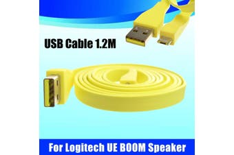 Yellow USB PC Charger Line Data Transfer Cable 1.2M For Logitech UE BOOM MEGA bluetooth Speaker
