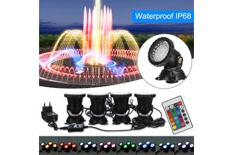 【Free Shipping + Flash Deal】 4Pcs Submersible 36 LED RGB Spot Lights for Underwater Pool Fountain(B - 4 lights)