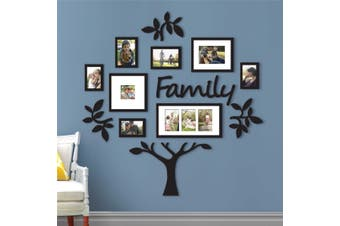 Family Tree Frame Collage Pictures Collage Photo Wall Mount Decor Wedding Black(D)