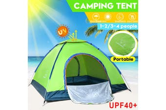 1 - 2/3 - 4 Person Anti-UV Camping Tent Double Layer Waterproof Beach Shelter Outdoor(green,2 Person)