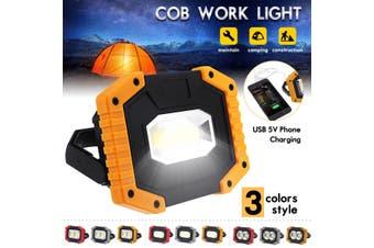 30W USB LED COB Camping Light Portable Flashlight Emergency Work Lamp Waterproof Spotlight Lantern 2000LM(red,Type A Round)