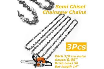 """3X 14"""" Bar Chainsaw Chain Semi Chisel 3/8 0.043"""" 50DL for Various Stihl Chainsaw(3Pcs Chainsaw Chain)"""
