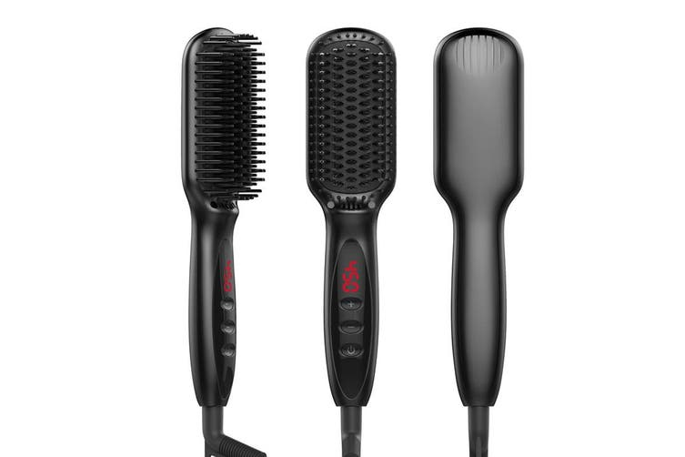 Electric Digital Beard Straightener Brush Hairdressing Comb Multifunctional Man Woman Hair Straightening Brush Beard Electric(EU-Plug)