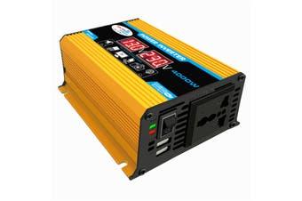 4000W 2 USB LCD DC 12V 24V To AC 220V Car Solar Power Inverters Converter(yellow,12-220v yellow 4000W)