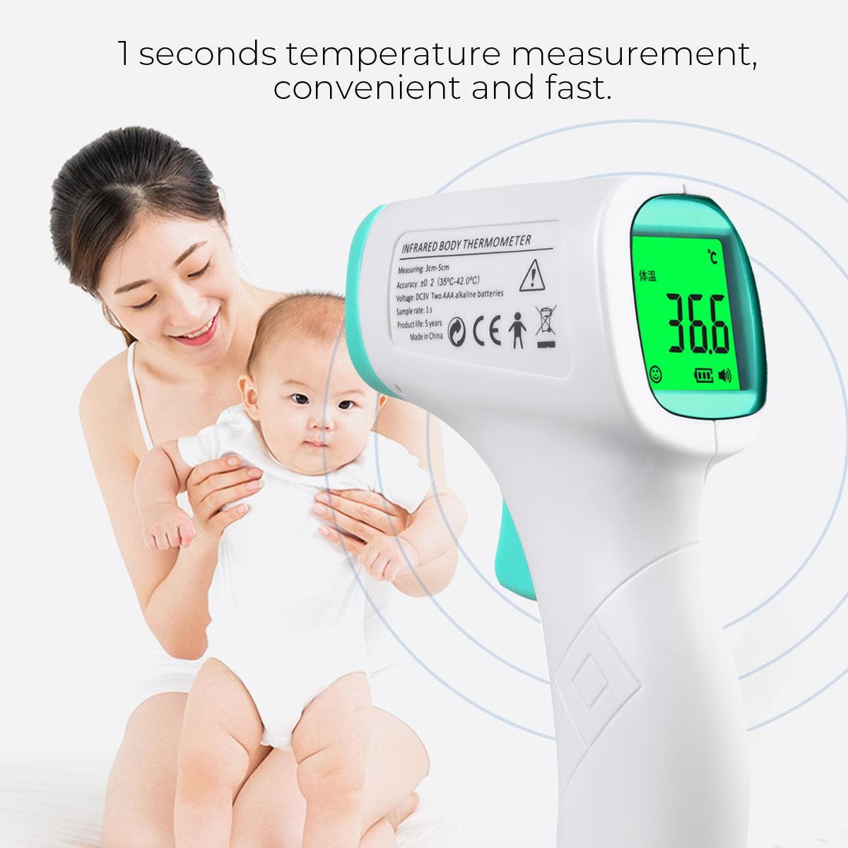 Lcd Display Infrared Forehead Thermometer For Adults And Children without Battery or Cotton Anti-Dust Mask(Thermometer) Type A:Thermometer Specifications: Measure mode: Body temperature and surface temperature - Measurement range: - Body temperature mode: 32 – 42.9 Deg.C - Surface temperature mode: 0 – 80 Deg.C - Measuring accuracy 0 – 31.9 Deg.C: ± 2 Deg.C 32-34.9 Deg.C: ± 0.3 Deg.C 35-41.9 Deg.C: ± 0.2 Deg.C 42-42.9 Deg.C: ± 0.3 Deg.C 43 – 80 Deg.C: ± 2 Deg.C - Sensing distance: 1 – 5 cm - Display accuracy: 0.1 Deg.C - Resolution: ±0.1 Deg.C Package included: Type A: 1 x Thermometer    Type B:Cotton Anti-Dust Mask Fabric: Cotton Package: OPP bag Size: 18 * 12cm Weight: About 12g Mask style: ear type Function: dust proof Specification: double layer Packing: 2pcs/pack Washing index: 30 ° C, no bleaching, no ironing, no dry cleaning, hanging and drying Package included: Type B: 2Pcs Cotton Anti-Dust Mask