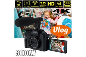 3000W 4K 16X Zoom Digital Microphone Camera Camcorder Video Camera for YouTube Vlogging Support 30MP 3.0 Inch 30FPS and IR Night Vision
