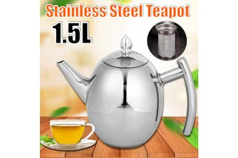 1.5L Stainless Steel Teapot Kettle Coffee Tea Pot with Strainer For Home Hotel Cafe