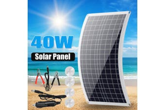40W DC18V AC5V Solar Panel Dual USB Charger Polysilicon Waterproof with 4Pcs Suckers for Car Boat Outdoor Camping Motorhome RV