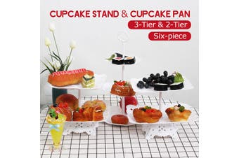 2-Tier/3-Tier Square Circle Love Cupcake Stand Cake Dessert Wedding Event Party Display Towers Plate (Square 2 Tier)