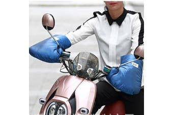 Motorcycle Bike Reflective Thermal Handlebar Grip Muffs Gloves Mitts Plush lined(blue,S)