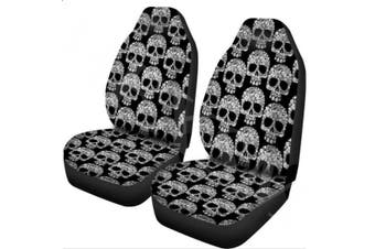 1/2Pcs Skull Print Car Truck Front Seat Cover Fabric Cases Protector Black Universal(1pc A)
