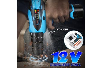 12V 18V 25~28Nm 1400 RPM No-load speed Electric Brushless Cordless Li-ion Impact Wrench Drill Torque Tool Kit LED Light and Fuel Gauge With Accessories Manual Adapter(12V With Accessories)