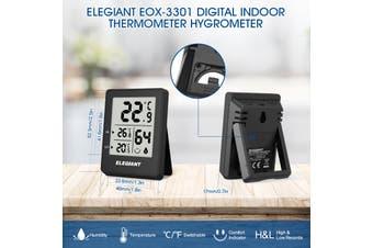 ELEGIANT EOX-3301 Home Confort Megnet Digital Indoor Hygrometer Thermometer Humidity and Temperature Sensor Monitor(black)