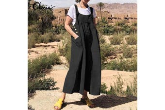 Celmia Plus Size Women Casual Wide Leg Jumpsuit Ladies Baggy Dungaree Playsuit Overalls(armygreen,3XL)