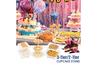 2-Tier/3-Tier Square Circle Love Cupcake Stand Cake Dessert Wedding Event Party Display Towers Plate (Round 3 Tier)