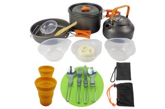 16Pcs / 14Pcs 0.8L Aluminum Lightweight Folding Outdoor Non-stick Cookware Kit Fast Heating Camping Cooking Set with Mini Gas Stove for Friends Gathering / Picnic / Hiking(orange,16Pcs Set)