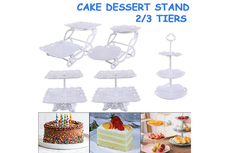 Best Gift 2/3 Tier Cake Stand Cupcake Stand Tower Dessert Stand Pastry Serving Platter Tea party/Wedding/Baby Showers/ Christmas 5Types With Beautiful Gift Box (2-tier Square Bike)