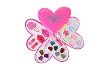 Baby Girl Princess Makeup Set Cosmetic Compact Pretend Play Toy (Heart 3-Tier)