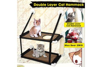 Hammock for pet [Single/Double Layer,Hold up 20KG] Cat Window Perch Hammock Bed Pet Cat Lounger Suction Cups Warm Bed Seat With Cat Scratching Post & Small Window(brown,Winter Single Layer)