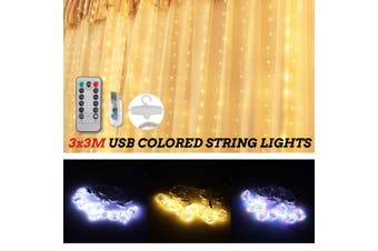3*3M Waterproof 300 LED Window Curtain String Light Twinkle 8 Modes Fairy Lights Home(cold white)