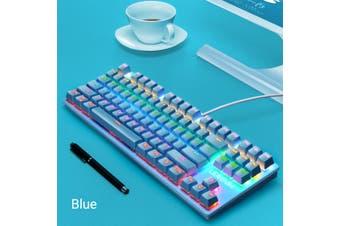 K550 87 Keys Blue Switch Keyboard 19 Kinds of Light Gaming Keyboard USB Waterproof