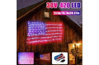 2x1m NEW American 420 Led Flag Net String Lights USA Waterproof Indoor & Outdoor(30V 420LED American Flag Light)