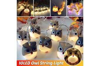 LED Owl String Fairy Lights Halloween Party Garden Decoration Lights For Decor(grey,warm white light)