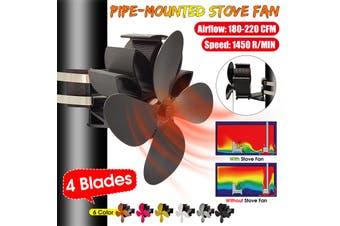 4 Blades Stove Fan Wall-mounted Wood Log Burner Fireplace Heat Powered Ecofan(silver)