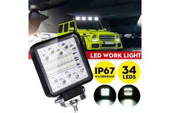 12V 24V 102W 34 LED Work Light Bar Spot Driving for Jeep Pickup Offroad 4WD Truck Tractor Boat Trailer 4x4 SUV ATV(1X 102W)