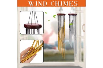 【FreeShipping】Wind Chimes Outdoor Garden Lucky Bells Hanging Charm Decor Windchime Ornament Tube(silver,Type-3)