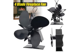 4-Blade Twin Motor Heat Powered Wood Stove Fan with Temperature Gauge - Ultra Quiet Fireplace Wood Burning Eco Fan for Efficient Heat Distribution – Black (4 Blade)