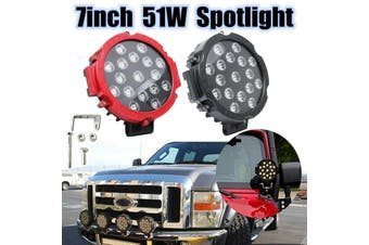 【7inch】(Round) 51W 17led Car LED Work Light Fog Light Driving Lamp Waterproof Spot Flood Combo Beam DC9-35V 5100LM For Jeep MPV Boat Offroad Pickup ATV Truck Roof Grille Lighting 6000K(red,1PC)