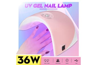 36W Quick Motion Infrared Hand Sensor UV LED Nail Lamp Nail Beauty Light Dryer Pink(pink,B- 36W Nail lamp)