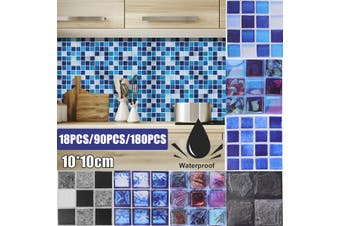 18/90/180 pcs Tile Stickers Bathroom Kitchen Mosaic Self-adhesive Home Wall Decor