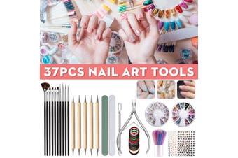 37PCS Nail Art Kit Professional Artist Set Beauty Painting Polish Drawing Makeup Brush Painting Fingernail Peeling Kit With Dotting Tools(multicolor,Pack of 37)