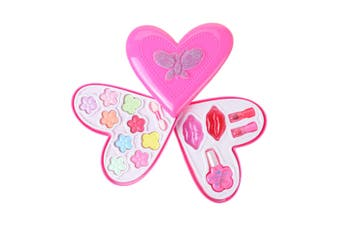 Baby Girl Princess Makeup Set Cosmetic Compact Pretend Play Toy (Heart 2-Tier)