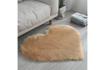 70x90cm Fluffy Area Rugs Indoor Heart-Shaped Anti-Skid Shaggy Carpet Dining Floor Mats Home Bedroom Chair(khaki)