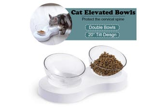 Pet Cat Elevated 20° Tilt Double Food Bowls With Stand Feeding & Watering Feeder