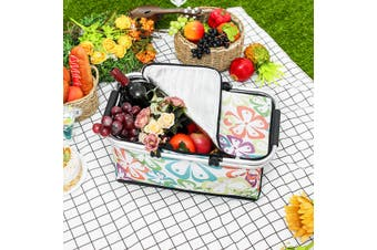 30L Insulated Picnic Basket Tote- Lightweight Collapsible Cooler Bag Case(Q)