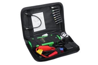 [With Emergency hammer, Compass, Cutting Knife] 82800mAH 12V Portable Car Jump Starter Power Bank 4 USB For Emergency Start Emergency Mobile Power Supply Lighter in Green(green,Green EU Plug)
