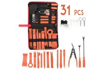 31Pcs Car Audio Trim Removal Panel Hand Tool Pry Bar Molding Plastic Interior (orange,31pcs- with bag)