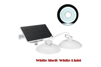 Solar Power Energy Dual Head Pendant Light Garden Ceiling Hanging + Solar Panels(Double Head White Shell White Light)