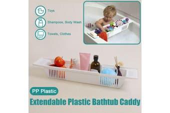 Bathroom Extendable Bathtub Caddy Plastic Bath Tub Rack Table Organiser Holder
