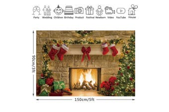 10x7FT/7x5FT Christmas Fireplace Red Socks Backdrop Photography Background Props(A--1.5x0.9m)