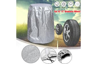 """Car SUV Tire Storage Bag Spare Wheel Dustproof Protective Cover 32"""" Holds 4 Tire(silver,M)"""